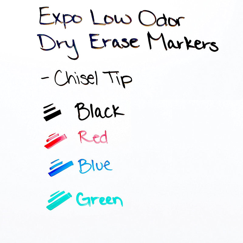 Expo Low Odor Dry Erase Markers, Chisel Tip, Black, 2 Count
