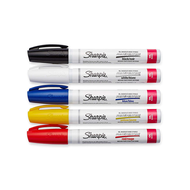 Sharpie Oil-Based Paint Markers, Medium Point, Assorted Classic Colors, Set of 5 Plus Bonus