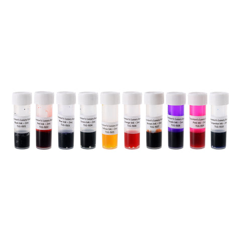 Thornton's Luxury Goods Fountain Pen Ink Samples, 2ml, Assorted Colors, 10-Color Set
