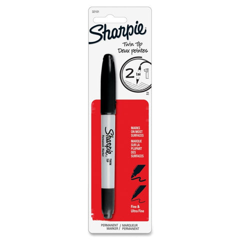 Sharpie Twin Tip Permanent Marker, Fine Point & Ultra Fine Point, Black Ink Each
