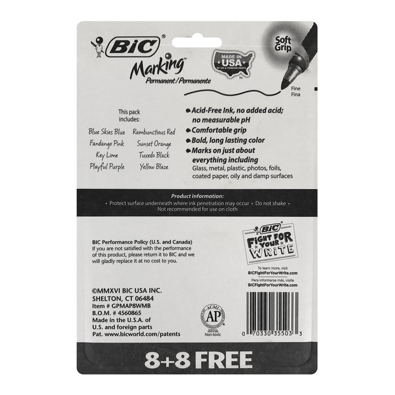 Bic Marking Permanent Marker, Fine Tip, Assorted Colors, 16 Count, 2 Packs