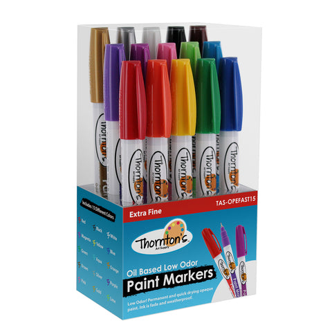 Thornton's Art Supply Oil-Based Paint Marker, Extra Fine Point, Assorted Colors, Set of 15