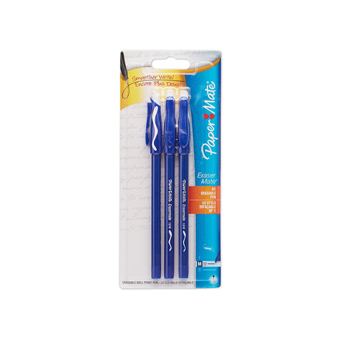 Paper Mate Eraser Mate Stick Ball Point Pen, 1.0mm, Medium Point, Blue Ink, 3-Count