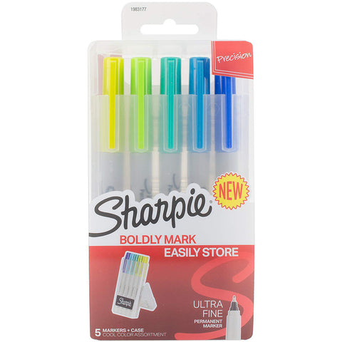 Sharpie Permanent Markers with Storage Case, Ultra Fine Point, Cool Colors, 5 Count