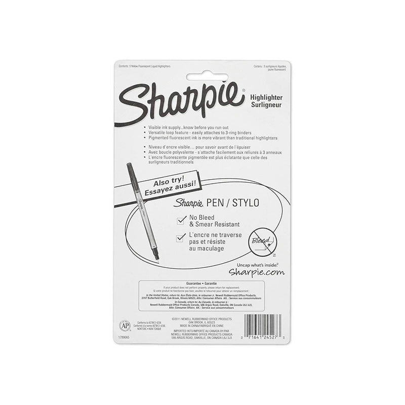 Sharpie Accent Sharpie Pen-Style Highlighter, Chisel Tip, Yellow, 5-Count