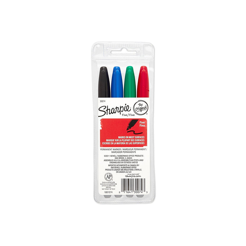 Sharpie Permanent Markers, Fine Point, Assorted Colors, Pack of 4