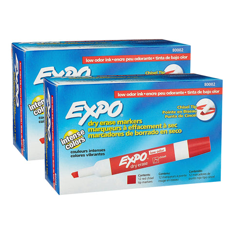 Expo Low Odor Dry Erase Marker, Chisel Tip, Red Ink, Pack of 24