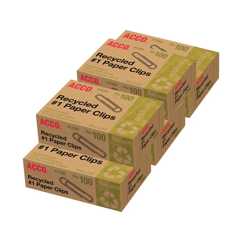 Acco Recycled Paper Clips, #1 Size, Box of 500 (72365)