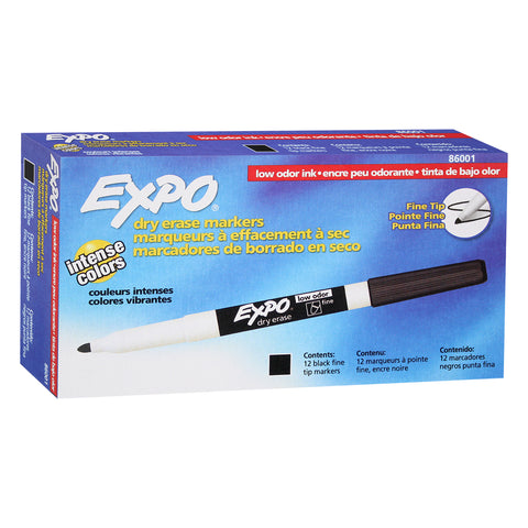 Expo Low Odor Dry Erase Markers, Fine Point, Black Ink, 12-Count