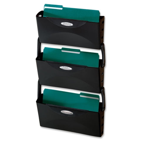 Rubbermaid Ultra Hot File Three Pocket Wall File Set, Legal, Black