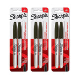 Sharpie Permanent Markers, Fine Point, Black Ink, Pack of 6