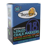 Thornton's Art Supply Liquid Chalk Markers with Reversible Tips, Assorted Colors, Pack of 18