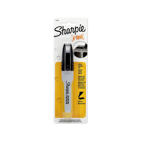 Sharpie Professional Permanent Marker, Chisel Tip, Black Ink, 1 Per Card