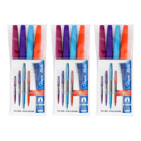 Paper Mate Flair Porous Point Felt Tip Pen, Ultra Fine Point, Assorted Colors, Pack of 12