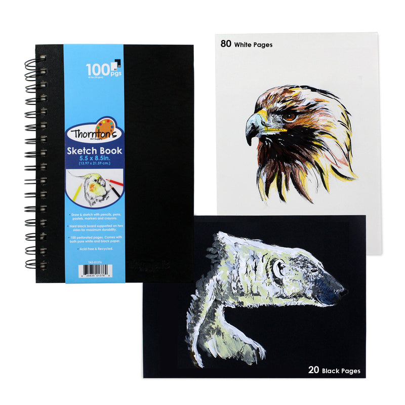 Thornton's Art Supply 5.5 in x 8.5 in Artist Spiral Perforated Sketch Pad, Black & White Pages, 100 Sheets