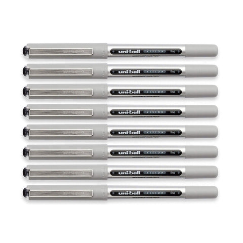 Uni-Ball Vision Rollerball Pen, 0.7mm, Fine Point, Black Ink, 8-Count