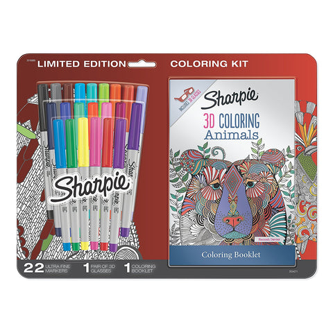 Sharpie Permanent Markers, Ultra Fine Point, Assorted Colors with 3D Animals Adult Coloring Booklet, 24 Count