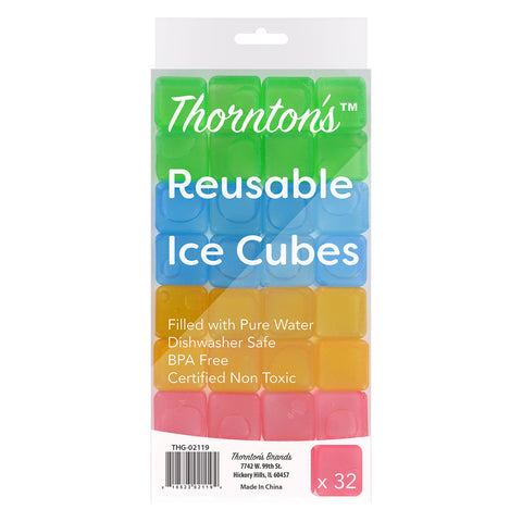 Thornton's Reusable Plastic Ice Cubes, Assorted Fun Colors, Set of 32