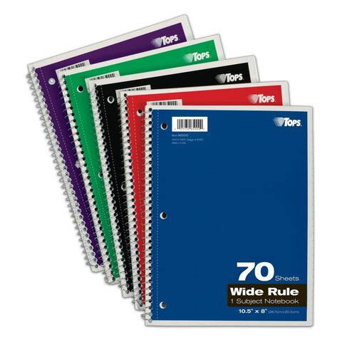 tops 1 subject spiral notebook wide rule 8 x 10 5 inch bright