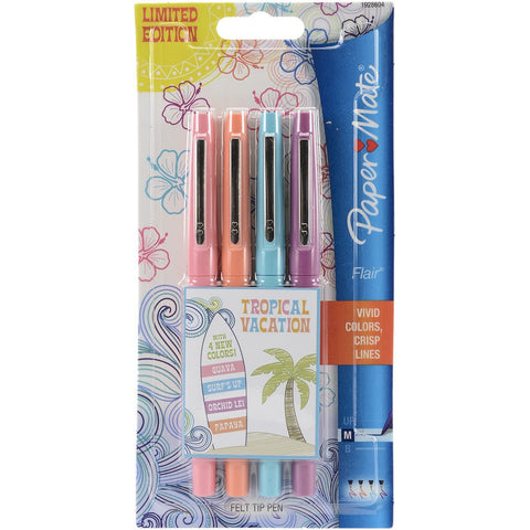 Paper Mate Flair Felt Tip Pens, 0.7mm, Medium Point, Assorted Tropical Colors, Pack of 4