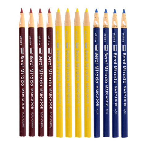 Berol Mirado Peel Off China Marker, Assorted Colors, Pack of 12