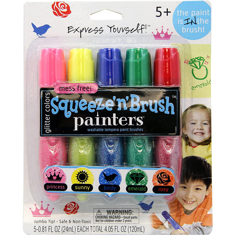 Elmer's Painters Squeeze 'N Brush Washable Tempera Paint Brushes, Glitter Colors, Set of 5 Brushes (E113)