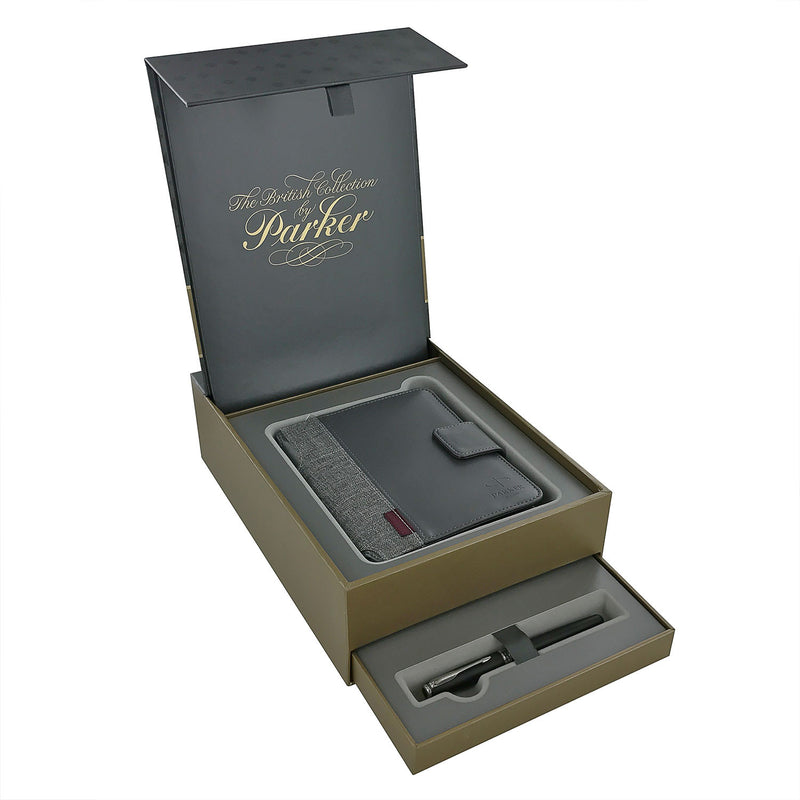Parker Sonnet Matte Black CT Rollerball Pen Gift Set with Notebook