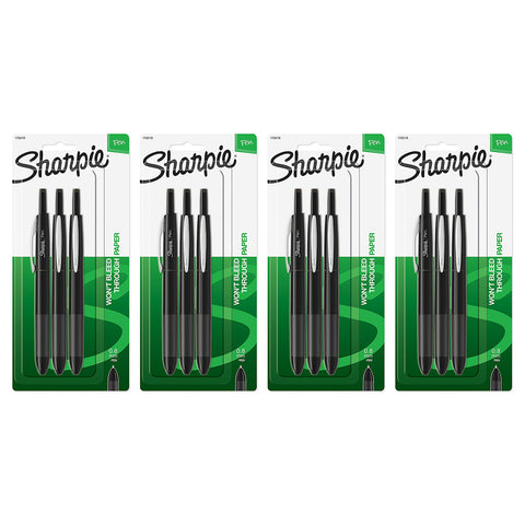 Sharpie Soft Grip Retractable Pen, 0.8mm, Fine Point, Black Ink, 12-Count