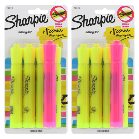 Sharpie Tank Highlighters, Chisel Tip, Yellow, 8-Count + 2 Bonus