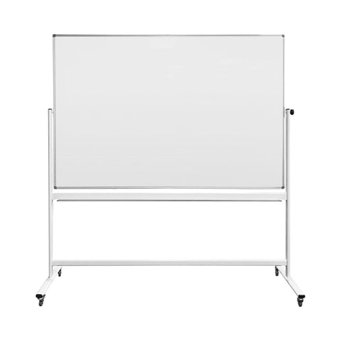 "Thornton's Office Supplies Magnetic Reversible Mobile Dry Erase Whiteboard Easel, 70 4/5w x 47 1/5h, 80""h, White/Silver"