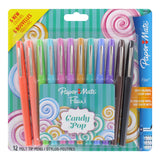 Paper Mate Flair Felt Tip Pen, 0.7mm, Medium Point, Assorted Candy Pop Colors, 12-Count