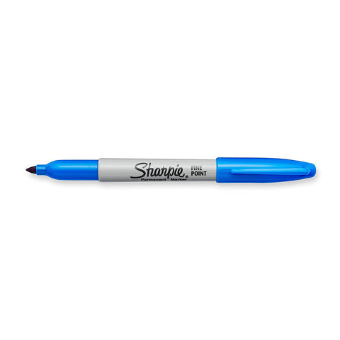 Sharpie Permanent Marker, Fine Point, Techno Blue, Pack of 12 (Shrink Wrap)