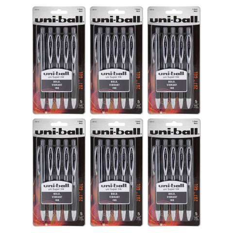 Uni-Ball Signo 207 Gel Retractable Roller Ball Pen, 1.0mm, Bold Point, Black Ink, 30-Count