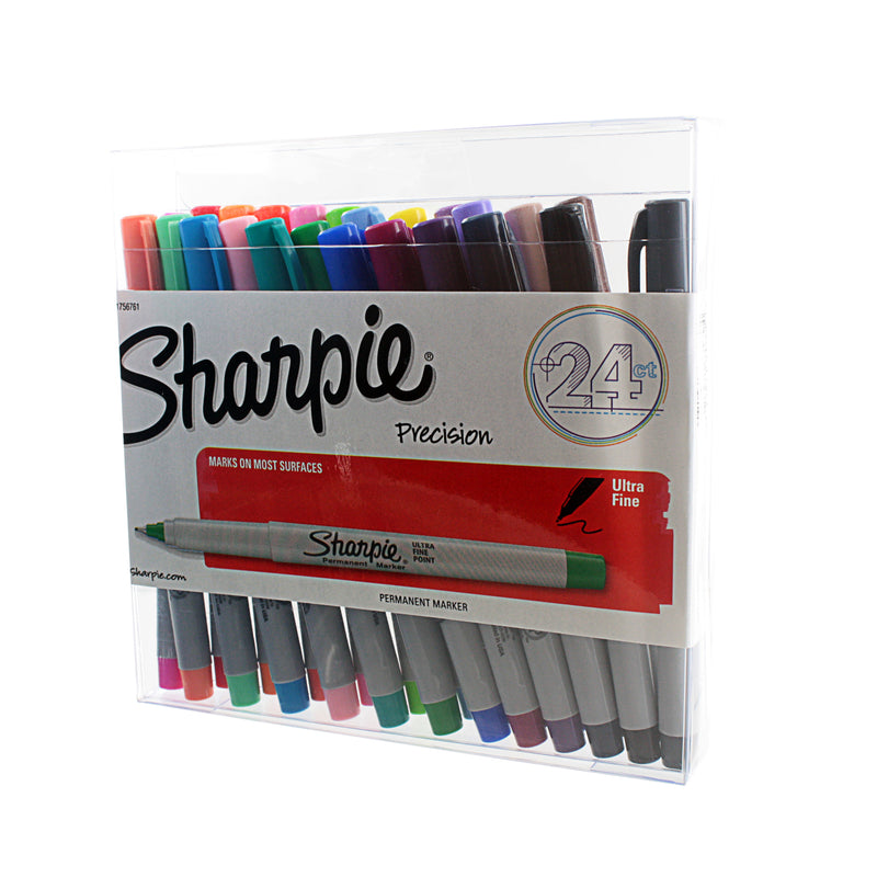 Sharpie Permanent Markers, Ultra Fine Point, Assorted Ink, Pack of 24