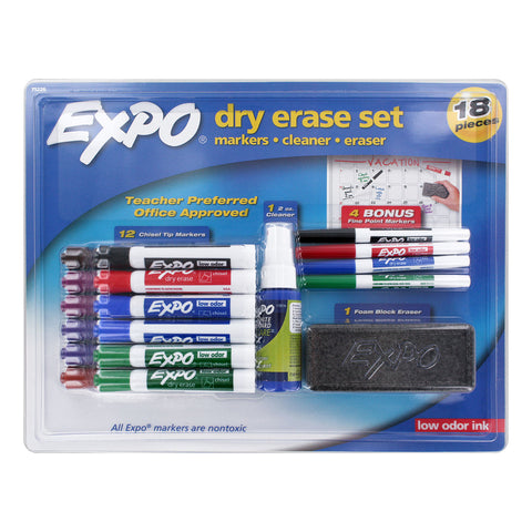 Expo Low Odor Dry Erase Marker Set, Assorted Colors and Sizes, 18-Piece Set