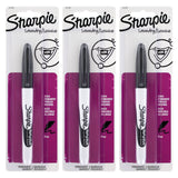 Sharpie Rub-a-Dub Permanent Marker, Fine Point, Black Ink, 3-Count