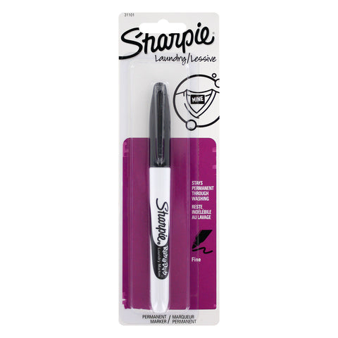 Sharpie Rub-a-Dub Permanent Markers, Fine Point, Black Ink, Pack of 1