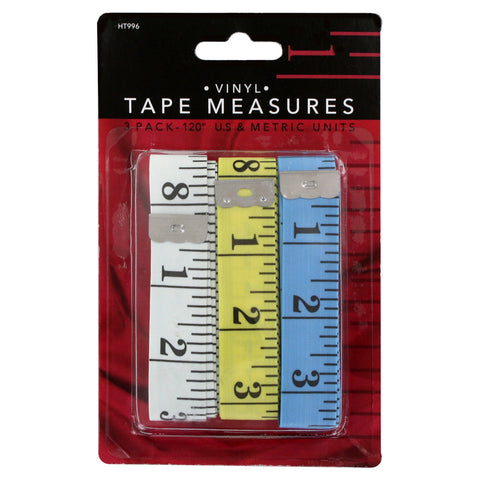 Junipers Soft Vinyl 120 Inch Tape Measure, Assorted Colors, Pack of 3