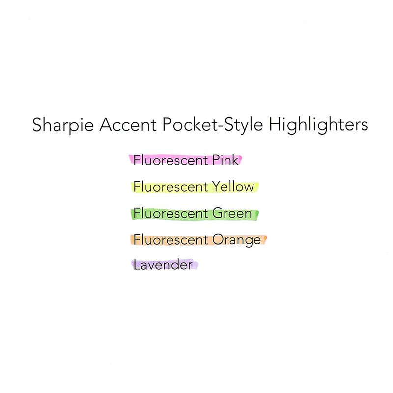 Sharpie Pocket Style Highlighters, Chisel Tip, Assorted Fluorescent, 4-Count