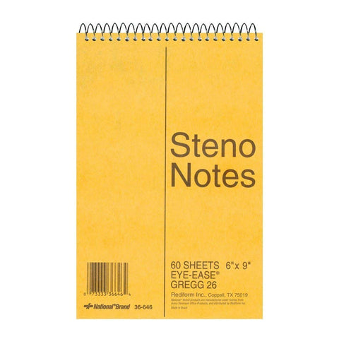 National Brand Brown Board Cover Steno Notebook, Gregg, Green Paper, 6 x 9 Inches, 60 Sheets (36646)