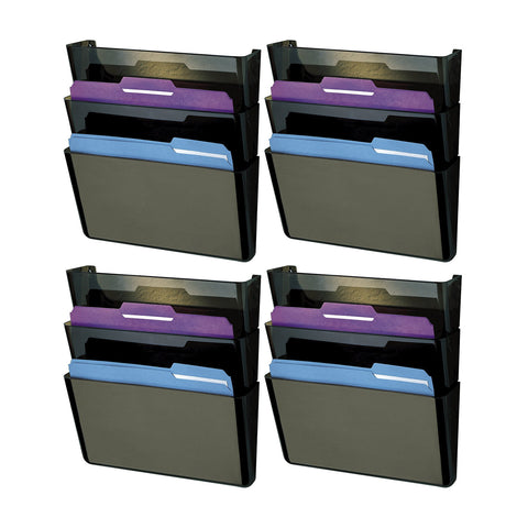 Rubbermaid Stak-A-File Three-Pocket Wall File, Letter, Smoke, 3/Pack, Set of 4 (47021)