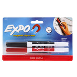 Expo Low Odor Dry Erase Markers, Fine Point, Black and Red, Pack of 2 with Magnetic Clip Eraser