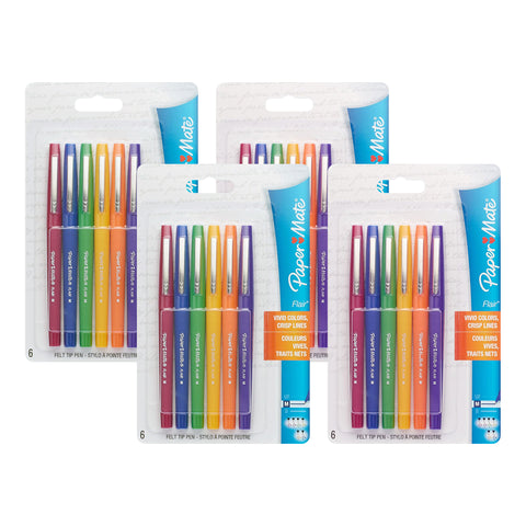 Paper Mate Flair Felt Tip Pens, Medium Point, Assorted Fashion Colors, 24-Count