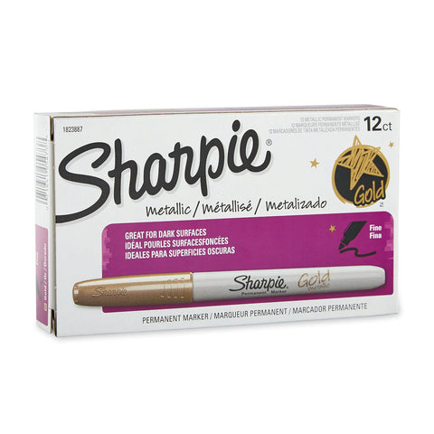 Sharpie Metallic Permanent Markers, Fine Point, Metallic Gold, Pack of 12