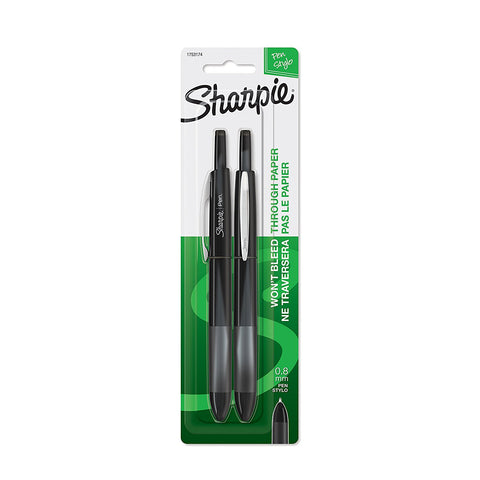 Sharpie Soft Grip Retractable Pen, 0.8mm, Fine Point, Black Ink, 2-Count
