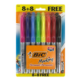 Bic Marking Permanent Marker, Fine Tip, Assorted Colors, Pack of 16
