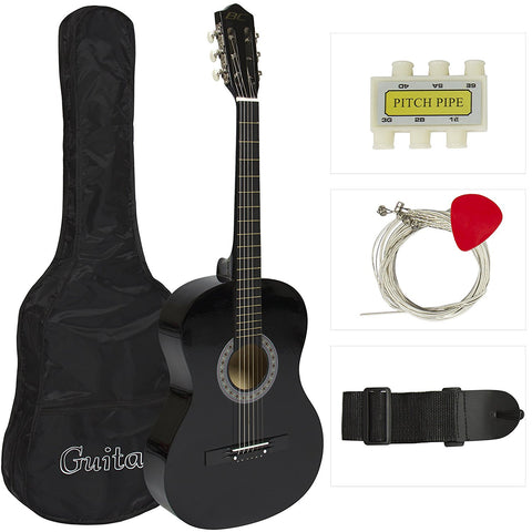 New Beginners Acoustic Guitar With Guitar Case, Strap, Tuner and Pick - Black
