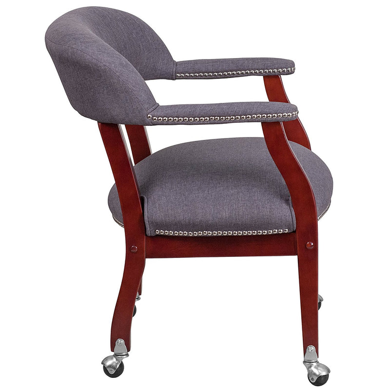 Flash Furniture Gray Fabric Luxurious Conference Chair with Silver Trim Nails & Casters