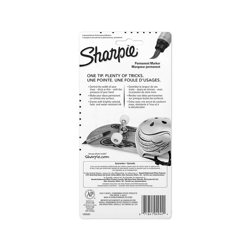 Sharpie Brush Tip Permanent Marker, Assorted Colors, 4-Count