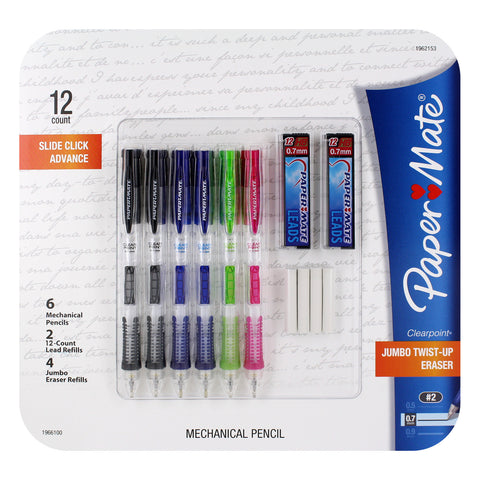 Paper Mate Clear Point Mechanical Pencils, 0.7mm, Fashion Assorted Colors, Pack of 6 Value Pack